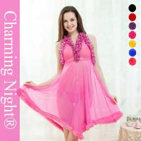Wholesale Pink Sexy nightwear dress  / Sexy Night Dress Fur Edge Ruffle Neck Transparent from china suppliers