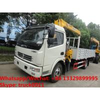 Buy cheap Factory sale good price Dongfeng 4*2 LHD 3.5tons telescopic boom mounted on truck, cargo truck with crane from wholesalers