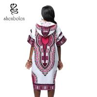 Quality Women African Print Dresses Batik Print Dashiki Summer Traditional Hat Dress for sale