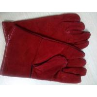 "Wholesale 12"" 14"" 16"" Red Cowhide Split Leather Welding Gloves gantlet protective welder full lining from china suppliers"