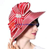 Wholesale Red Stripped Womens Church Hats Fabric Rope Accessories for Church Ladies from china suppliers
