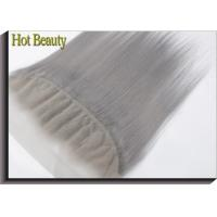 Quality Customized Silver Grey Human Hair Virgin Lace Frontal Straight with 130% density for sale