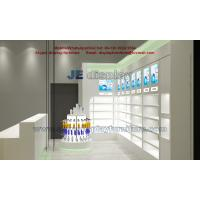 Wholesale Pharmacy Wall Display cabinet with Glass Shelves for Store Furniture in Led light with Wooden Counters from china suppliers