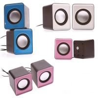 Wholesale Home Colored Mini Computer Speakers 3.5mm Input With USB Port Square Shape from china suppliers