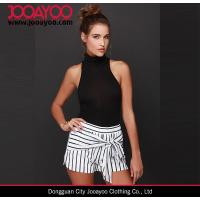 Wholesale JOA Bayside Babe Ivory And Black Striped High Elastic Waistband Short from china suppliers