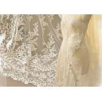 Wholesale Ivory Embroidery Bridal Corded Lace Fabric , Flower Scalloped Edge Lace Fabric By The Yard from china suppliers