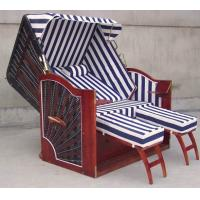 Wholesale Hotel Pool Red Roofed Wicker Beach Chair & Strandkorb With White Blue Cushion from china suppliers