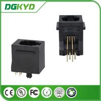 Wholesale 180 degree Tab Up Female RJ11 Jack Without Shield , Housing Black 4p4c Jack from china suppliers