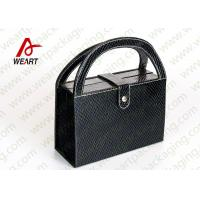 Wholesale Black Textured Leather Cosmetic Paper Box With Handle & Powder Compact from china suppliers
