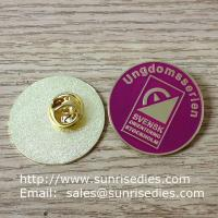 Wholesale Enamel metal emblem pins, color filled emblem pin badges with butterfly clutch from china suppliers