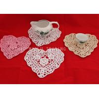 Wholesale Scallop Edge Crochet Floor Rug With Floral Pattern , Crochet Heart Coaster from china suppliers