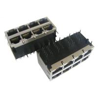 Wholesale W/LED Gigabit Stacked RJ45 Modular Jack , SDH PDH RJ45 LPJE Series 2 x 4 from china suppliers