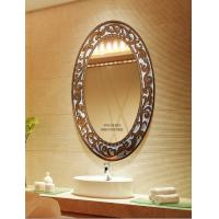 Wholesale Oval Large Decorative Copper Framed Bathroom Mirror For Ornament , Deep-Carving from china suppliers