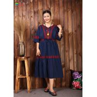 China Navy Blue Embroidered Cotton Dress Women Elegant And Comfortable Tunic for sale