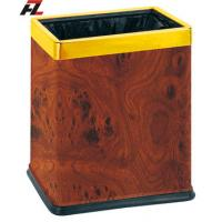 Wholesale Veneer-wrapped Dual Trash Bins with Rubber Rim-Waste Basket from china suppliers