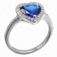Wholesale Sapphire Silver Ring, Available in Various Styles, OEM and ODM Orders Accepted from china suppliers