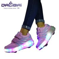 Wholesale Fashion Flashing Unisex LED Casual Shoes Luminous Roller Sneakers With Mesh Lining from china suppliers