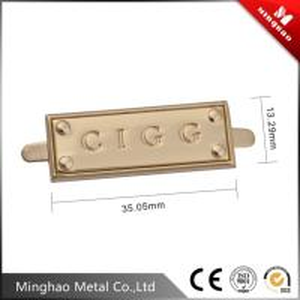 Wholesale Custom metal plates brand logos for handbag , debossed metal letter logo label from china suppliers