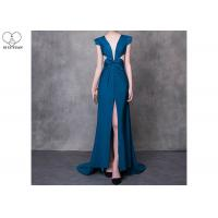 Cyan V Neck A Line Cocktail Dress High Slit Back Hollow Sexy Style With Bowknot for sale