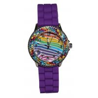 Wholesale Purple Bling Stones Kids Analog Watch With Silicone Strap Silver Up Numbers from china suppliers
