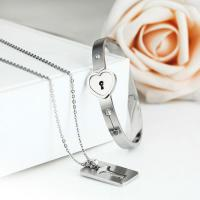 Wholesale Hot Fashion Couples Eternal Love Loyalty Promise Key Lock Bangle+ Necklace Set from china suppliers