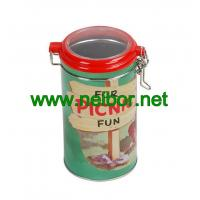 Quality Round tin jar with clear plastic see-through lid and metal clasp for sale