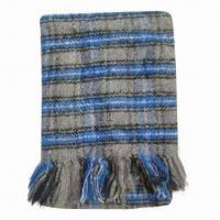 Wholesale Mohair Checked Woven Knitted Scarf, Various Styles and Colors are Available from china suppliers