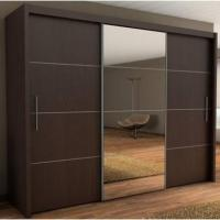 Wholesale Interior Mirror Sliding Door Wardrobe Cabinet , Black Bedroom Wall Cabinets from china suppliers
