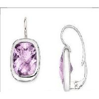 Wholesale 14K White Gold Earrings Cushion Cut Amethyst from china suppliers