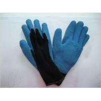 Wholesale Wrinkle Finish Abrasion Resistance Blue Latex Coated Warm Winter Gloves from china suppliers
