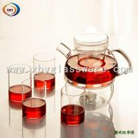Wholesale Pyrex flower teapots set with fliter from china suppliers