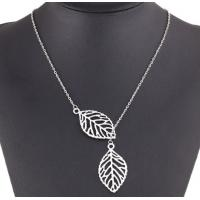 Wholesale The Leaf Necklace Double Leaf Clavicle Chain Jewelry for Female from china suppliers