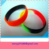 Buy cheap funny subsection color promotional silicone bracelet from wholesalers