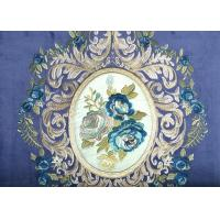 Wholesale Blue Floral Embroidery Velvet Fabric , Soft Polyester Fabric Blackout from china suppliers