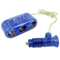 Wholesale Blue 1 To 3 Car Socket Splitter , Portable Car Cigarette Lighter Adapter from china suppliers