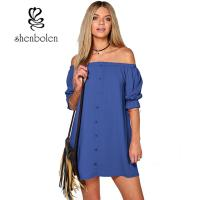 Wholesale Summer Casual Party Dress Strapless Sexy Women Beach Dress Solid Plus Size from china suppliers