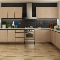 Wholesale Modern Stainless Steel Melamine Kitchen Cupboards , L Shaped Pull Out Kitchen Units from china suppliers