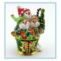 Wholesale Metal Snowman Trinket box for Xms decoration from china suppliers
