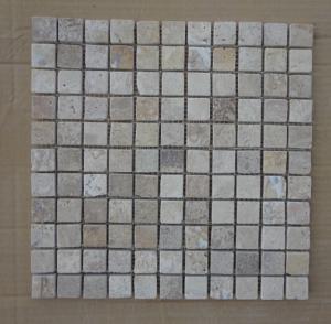 Wholesale Chinese Tumbled White Travertine Mosaic Wall Decoration China Travertine Mosaic Pattern from china suppliers
