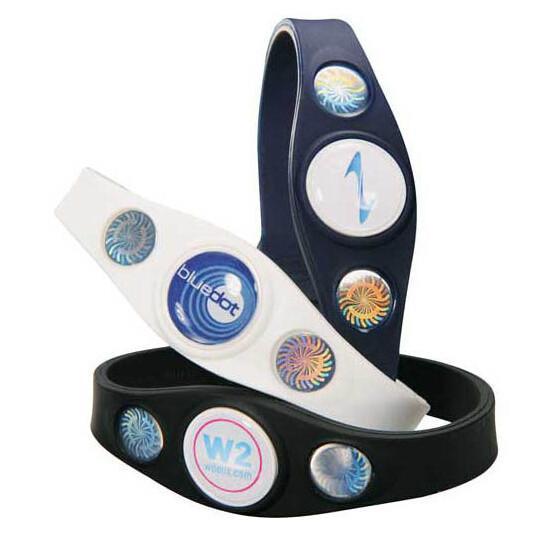 Quality Power Custom Silicone Bracelets Silicone Balance Bracelet 3 Holograms for sale