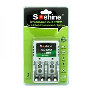 Wholesale Soshine AAA/AA/9V NI-MH Compact Battery Charger for AAA,AA 1-2pcs 9V Ni-Cd/Ni-MH batteries from china suppliers