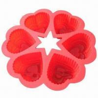 Wholesale FDA heart shaped round silicone cake mold, measures 12x10cm from china suppliers