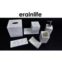 Quality Hotel Bathroom Accessory Set Polyresin Material Marble Effect Finish White Color for sale