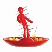 Wholesale Ex Skewer Set (Fruit Picking Set) with Unique Man-shaped Red Holder and Tray from china suppliers