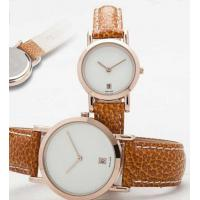 Wholesale Mineral Glass Calendar Dial Leather Band Quartz Watch Gift for New Couple from china suppliers