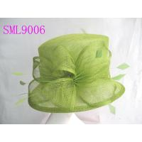 Wholesale Spring Sage Sinamay Ladies Hats , Green Small church lady hats from china suppliers