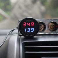 Wholesale 2 In 1 DC 12V Digital Car Voltmeter Thermometer Temperature Meter Battery Monitor from china suppliers