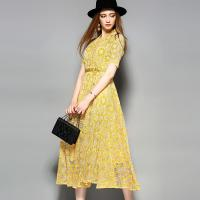 Quality yellow hot sale women lace-up polyester lace dress for sale