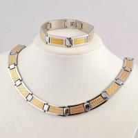 Wholesale US Europe Fashion 316L Stainless Steel Bracelet With Matched Necklace Jewelry Set CQS33 from china suppliers