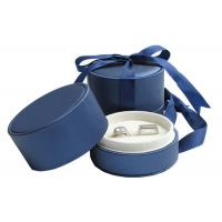 Wholesale Wedding Double Rings Jewelry Paper Boxes With Ribbon Dark Blue from china suppliers